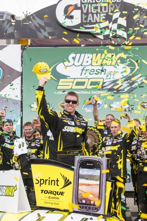 AVONDALE, AZ - MAR 03, 2013   Carl Edwards  99  ends his losing streak by winning the  Subway Fresh Fit 500 at Phoenix International Raceway in AVONDALE, AZ    Stock Photo - 18279738