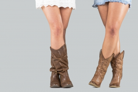 Closeup view of two sets of female boots in a studio environment photo