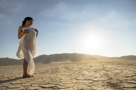 A nude model poses in a desert environment