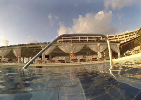 endless: Endless swimming pool at dawn in the caribbean