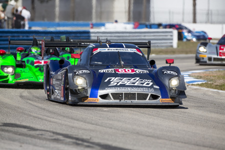 nscs: Sebring, FL - Mar 15, 2014:  The Michael Shank Ford EcoBoost Need For Speed car races through the turns at the 12 Hours of Sebring at Sebring International Raceway in Sebring, FL. Editorial
