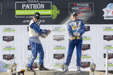 Long Beach, CA - Apr 12, 2014:  Scott Pruett and Memo Rojas, hold off the rest of the field to win the  TUDOR United SportsCar Championship of Long Beach at Grand Prix of Long Beach in Long Beach, CA. Editorial