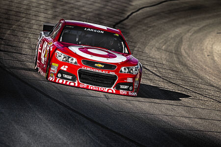 Fort Worth, TX - Apr 04, 2014:  Kyle Larson (42) brings his race car through the turns during a practice session for the Duck Commander 500 at Texas Motor Speedway in Fort Worth, TX.