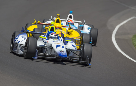 Indianapolis, IN - May 25, 2014:  Indy driver, Jaques Lazier (21), runs the 98th annual Indianapolis 500 at the Indianapolis Motor Speedway in Indianapolis, IN.     Editorial