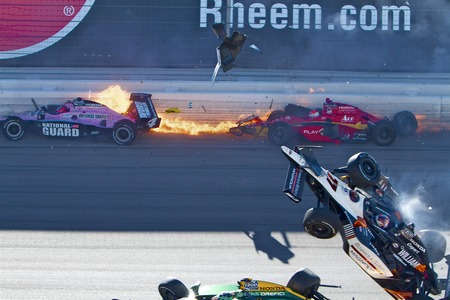 horrific: Las Vegas, NV - Oct 16, 2011:  Dan Wheldon, the 2011 Indianapolis 500 winner and one of the most popular drivers in open-wheel racing, died Sunday at Las Vegas Motor Speedway in a horrific multicar crash on Lap 11 of the IndyCar Series season finale. Editorial