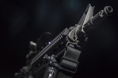 An American AR-15 assault rifle in a studio environment Banque d'images