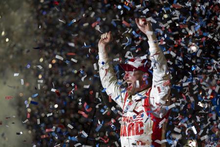 warner: Daytona Beach, FL - Feb 23, 2014:  Dale Earnhardt Jr. (88) wins the Daytona 500 at Daytona International Speedway in Daytona Beach, FL.