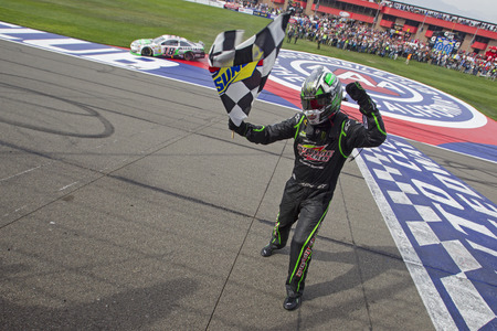Fontana, CA - Mar 23, 2014:  Kyle Busch (18) wins the Auto Club 400 at Auto Club Speedway in Fontana, CA.