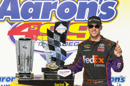 nscs: Talladega, AL - May 04, 2014:  Denny Hamlin (11) wins the Aarons 499 at Talladega Superspeedway in Talladega, AL.