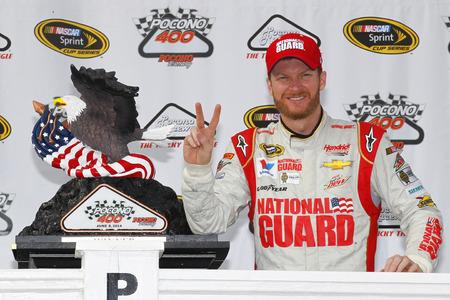 wins: Pocono, PA - Jun 08, 2014:  Dale Earnhardt Jr. (88) wins the Pocono 400 at Pocono Raceway in Pocono, PA.