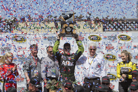 raceway: Sonoma, CA - Jun 22, 2014: Carl Edwards (99) wins the Toyota - Save Mart 350 at Sonoma Raceway in Sonoma, CA.