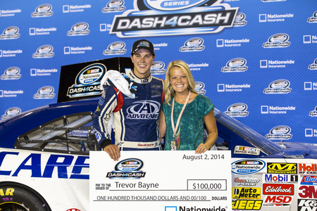 ranchers: Iowa Speedway, IA - Aug 02, 2014:  Trevor Bayne (6) and the Advocare Roush Fenway team win the Dash for Cash at the the U.S. Cellular 250 at Iowa Speedway in Newton, IA. Editorial