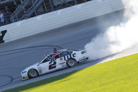 nscs: Joliet, IL - Sep 14, 2014:  Brad Keselowski (2) wins the MyAFibStory.com 400 at Chicagoland Speedway in Joliet, IL.