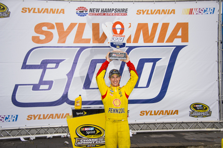 wins: Loudon, NH - Sep 21, 2014:  Joey Logano (22) wins the Sylvania 300 at New Hampshire Motor Speedway in Loudon, NH.