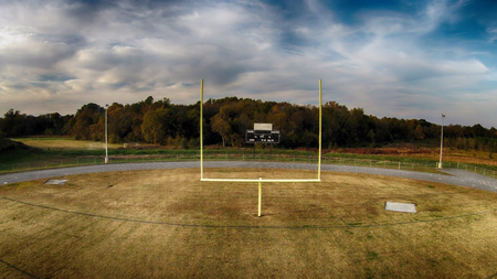 uprights: football goal at a local high school