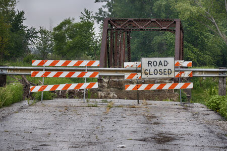 road closed: Road closed because of construction on bridge