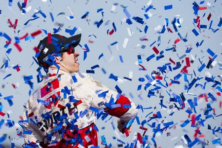 Fontana, CA - Mar 22, 2015:  Brad Keselowski (2) wins the Auto Club 400 race at the Auto Club Speedway in Fontana, CA.