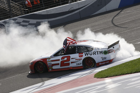 Fontana, CA - Mar 22, 2015:  Brad Keselowski (2) wins the Auto Club 400 at Auto Club Speedway in Fontana, CA.