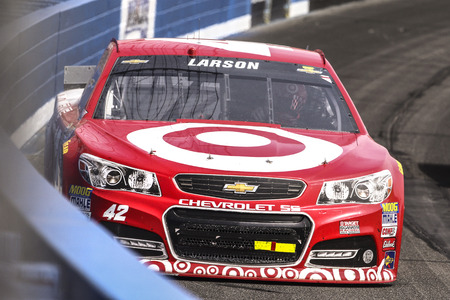 kyle: Fontana, CA - Mar 22, 2015:  Kyle Larson (42) brings his race car through the turns during the  race at the Auto Club Speedway in Fontana, CA. Editorial