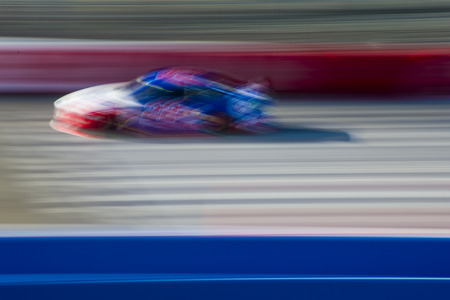 fontana: Fontana, CA - Mar 21, 2015:  Joey Logano (22) takes to the track for the Auto Club 400 at Auto Club Speedway in Fontana, CA. Editorial