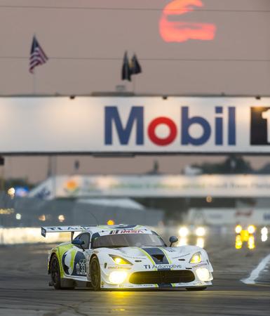 fl: Sebring, FL - Mar 19, 2015:  The Riley Motorsport SRT Viper GT3-R races through the turns at 12 Hours of Sebring at Sebring Raceway in Sebring, FL.
