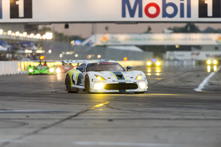 gt: Sebring, FL - Mar 19, 2015:  The Riley Motorsports Dodge Viper SRT races through the turns at 12 Hours of Sebring at Sebring Raceway in Sebring, FL. Editorial
