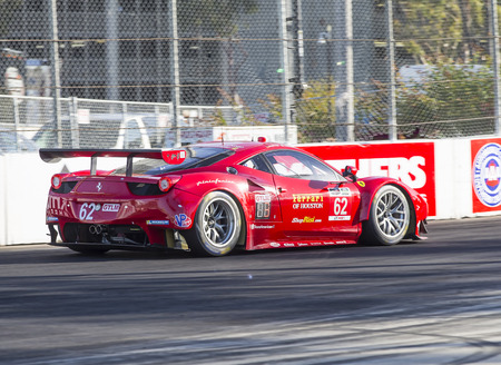 prix: Long Beach, CA - Apr 17, 2015:  The Risi Competizione Ferrari races through the turns at Toyota Grand Prix of Long Beach at Long Beach Grand Prix in Long Beach, CA. Editorial