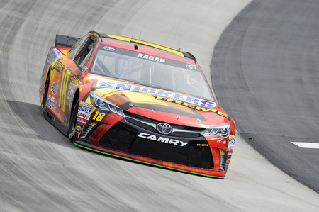 tn: Bristol, TN - Apr 17, 2015:  David Ragan (18) brings his race car through the turns during the Food City 500 race at the Bristol Motor Speedway in Bristol, TN.