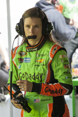 tn: Bristol, TN - Apr 17, 2015:  Danica Patrick (10) talks to her crew during a practice session for the Food City 500 at Bristol Motor Speedway in Bristol, TN. Editorial