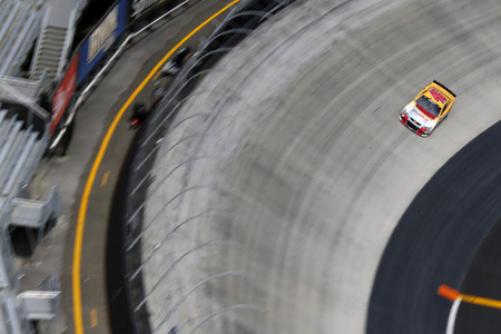 nascar: Bristol, TN - Apr 17, 2015:  Michael Annett (46) goes through the turns during a practice session for the Food City 500 at Bristol Motor Speedway in Bristol, TN.