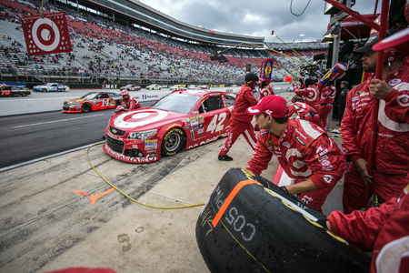 kyle: Bristol, TN - Apr 19, 2015:  Kyle Larson (42) brings his car in for service during the Food City 500 at Bristol Motor Speedway in Bristol, TN.
