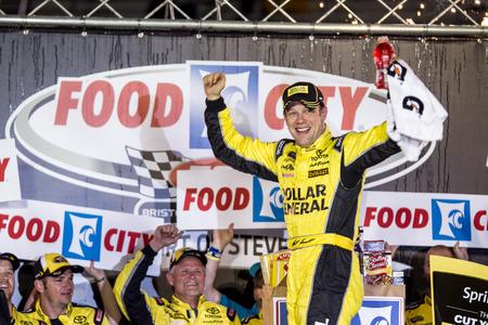 tn: Bristol, TN - Apr 19, 2015:  Matt Kenseth (20) wins the Food City 500 at Bristol Motor Speedway in Bristol, TN. Editorial