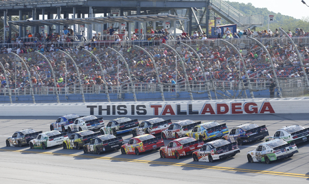Talladega, AL - May 02, 2015:  The NASCAR Xfinity Series teams take to the track for the Winn-Dixie 300 at Talladega Superspeedway in Talladega, AL.
