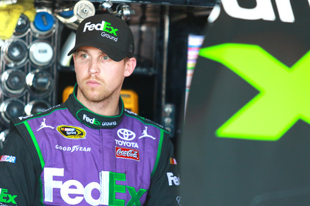nscs: Richmond, VA - Apr 24, 2015:  Denny Hamlin (11) prepares for practice for the Toyota Owners 400 race at the Richmond International Raceway in Richmond, VA.