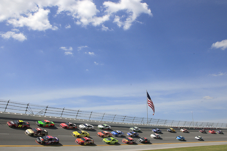Talladega, AL - May 03, 2015:  The NASCAR Sprint Cup Series teams take to the track for the GEICO 500 at Talladega Superspeedway in Talladega, AL. Editoriali