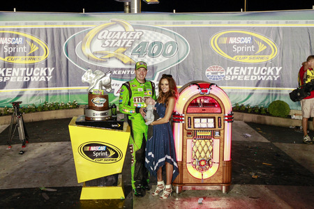 quaker: Sparta, KY - Jul 11, 2015:  Kyle Busch (18) wins the Quaker State 400 at Kentucky Speedway in Sparta, KY. Editorial