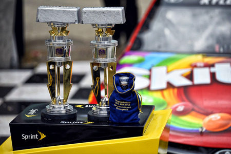 indianapolis: Indianapolis, IN - Jul 26, 2015: Kyle Busch (18) celebrates in victory lane after winning the Crown Royal Presents the Jeff Kyle 400 at the Brickyard at Indianapolis Motor Speedway in Indianapolis, IN.