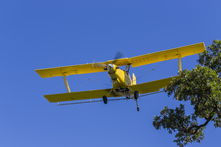 duster: A crop duster applies chemicals to a field of vegetation.
