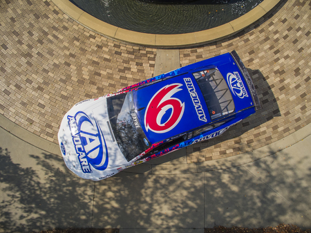 roush: Concord, NC - Aug 27, 2015: The throwback Ford Fusion of Trevor Bayne at the Roush Fenway Racing World Headquarters in Concord, NC.