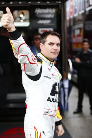 nscs: Homestead, FL - Nov 22, 2015:  Jeff Gordon (24) pumps up the crowd prior to the FORD EcoBoost 400 at Homestead Miami Speedway in Homestead, FL.