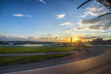 car race track: Homestead, FL - Nov 22, 2015:  The NASCAR Sprint Cup Series teams take to the track for the FORD EcoBoost 400 at Homestead Miami Speedway in Homestead, FL. Editorial