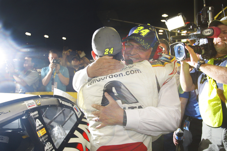 fl: Homestead, FL - Nov 22, 2015:  Jeff Gordon (24) hugs Rick Hendrick after failing to win the 2015 NASCAR Sprint Cup Championship following the FORD EcoBoost 400 at Homestead Miami Speedway in Homestead, FL.