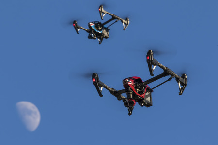 air transport: A personal drone flying through the air