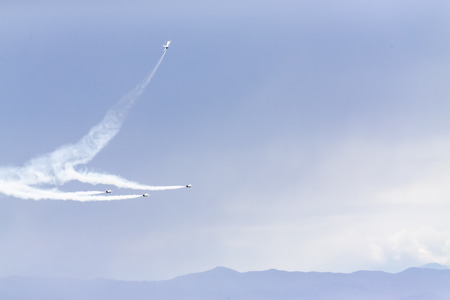 united states air force: Las Vegas, NV - Mar 06, 2016: The United States Air Force Thunderbirds perform before the start of the Kobalt Tools 400 at the Las Vegas Motor Speedway in Las Vegas, NV.