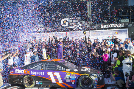 nscs: Daytona Beach, FL - Feb 21, 2016: Denny Hamlin celebrates his win in Victory Lane  during the Daytona 500 weekend at the Daytona International Speedway in Daytona Beach, FL.