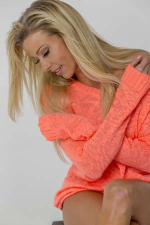 adultery: Bikini model posing in a studio environment Stock Photo