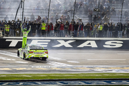 commander: Ft. Worth, TX - Apr 10, 2016: Kyle Busch (18) wins the Duck Commander 500 at the Texas Motor Speedway in Ft. Worth, TX.