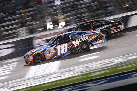 51: Ft. Worth, TX - Apr 08, 2016: Kyle Busch (18) and Jeremy Clements (51) battle for position during the OReilly Auto Parts 300 at the Texas Motor Speedway in Ft. Worth, TX.