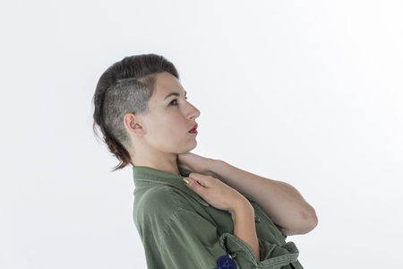 rocker: Fashion rocker style model with vintage military shirt