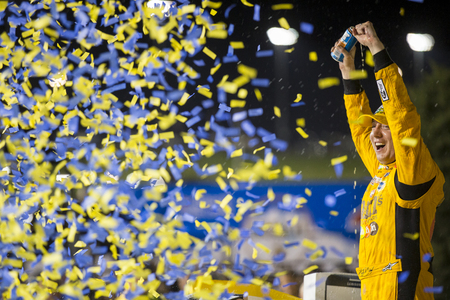 Kansas City, KS - May 07, 2016: Kyle Busch (18) wins the GoBowling.com 400 at the Kansas Speedway in Kansas City, KS.